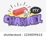 vlog video blog related social... | Shutterstock .eps vector #1234059613