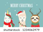 collection of christmas cartoon ... | Shutterstock .eps vector #1234062979