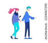 vector people character walking ... | Shutterstock .eps vector #1234067290
