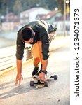 skateboarding on the streets of ...   Shutterstock . vector #1234071373