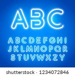 blue neon letters set. bright... | Shutterstock .eps vector #1234072846