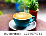 coffee caramel macchiato in... | Shutterstock . vector #1234074766