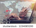 online shopping concept.woman...   Shutterstock . vector #1234085200