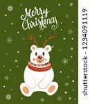 polar bear scarf cartoon with... | Shutterstock .eps vector #1234091119