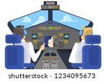 pilot in cockpit sitting.... | Shutterstock .eps vector #1234095673