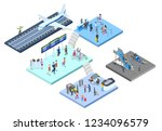 airport with passenger set.... | Shutterstock .eps vector #1234096579