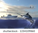 cathing marlin swordfish ... | Shutterstock . vector #1234109860