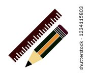 pencil with ruler isolated... | Shutterstock .eps vector #1234115803