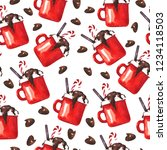 seamless pattern with red cocoa ... | Shutterstock . vector #1234118503