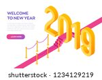 welcome 2019 isometric creative ... | Shutterstock .eps vector #1234129219