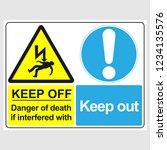 "plate  ""keep off. danger of... | Shutterstock .eps vector #1234135576"