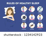 rules of healthy sleep. bedtime ... | Shutterstock .eps vector #1234142923