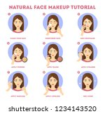 Natural face makeup tutorial for woman. Applying powder and concealer on skin. Daily routine of face contouring. Guide for perfect make up. Isolated vector flat illustration