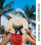 woman with red hair on vacation ...   Shutterstock . vector #1234148110