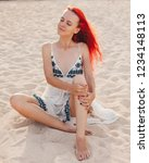 woman with red hair on vacation ...   Shutterstock . vector #1234148113