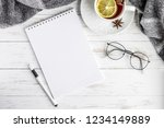 notebook  tea  pen  glasses on... | Shutterstock . vector #1234149889