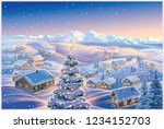 festive winter landscape with a ... | Shutterstock .eps vector #1234152703