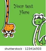 greeting card with cartoon... | Shutterstock .eps vector #123416503