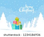 stack of gift boxes on winter... | Shutterstock .eps vector #1234186936