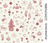 christmas background  seamless... | Shutterstock . vector #1234191886