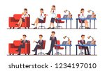business man   woman poses set. ... | Shutterstock .eps vector #1234197010