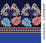 peacock and leaves pattern on... | Shutterstock .eps vector #1234208239