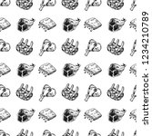 seamless pattern raw meat... | Shutterstock .eps vector #1234210789