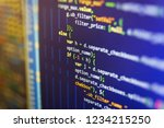 writing programming code on... | Shutterstock . vector #1234215250