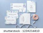 wedding invitation set with...   Shutterstock . vector #1234216810