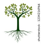 green tree and roots. vector... | Shutterstock .eps vector #1234216966