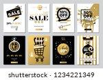 set of 2019 happy new year sale ... | Shutterstock . vector #1234221349