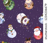 seamless pattern with funny... | Shutterstock . vector #1234236679