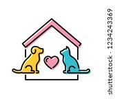 Stock vector vector adopt a pet design poster with cat and dog don t buy banner line icon illustration with 1234243369