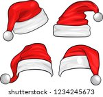 set of red santa claus hats... | Shutterstock .eps vector #1234245673
