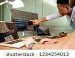 two young programmers working... | Shutterstock . vector #1234254013