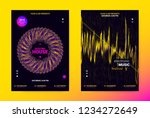 techno music poster. wave flyer ... | Shutterstock .eps vector #1234272649