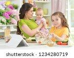 cute little girl eating fresh...   Shutterstock . vector #1234280719
