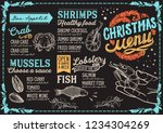 christmas menu template for... | Shutterstock .eps vector #1234304269