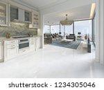 modern art deco kitchen with... | Shutterstock . vector #1234305046