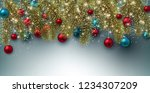 christmas background with balls.... | Shutterstock .eps vector #1234307209