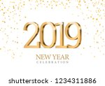 vector text design 2019. gold... | Shutterstock .eps vector #1234311886