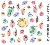 hand drawn doodle vegetables.... | Shutterstock .eps vector #1234314463