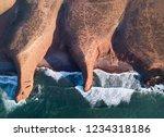 aerial top view on legzira... | Shutterstock . vector #1234318186