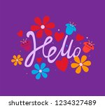 hello lettering with flowers... | Shutterstock .eps vector #1234327489