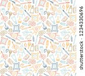 seamless pattern in hand drawn... | Shutterstock .eps vector #1234330696