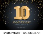 anniversary 10. gold 3d numbers.... | Shutterstock .eps vector #1234330870