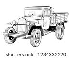 old lorry car | Shutterstock .eps vector #1234332220