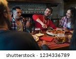 happy friends group eating... | Shutterstock . vector #1234336789
