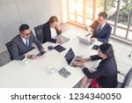 cheerful business people... | Shutterstock . vector #1234340050