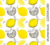 lemon seamless pattern.... | Shutterstock .eps vector #1234341280